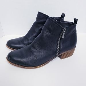 Lucky Brand Basel Black Leather Booties 8.5